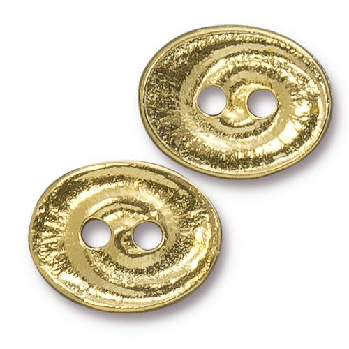 Swirl Button, Gold Plate, 20 per Pack