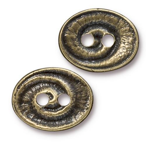 Swirl Button, Oxidized Brass Plate, 20 per Pack