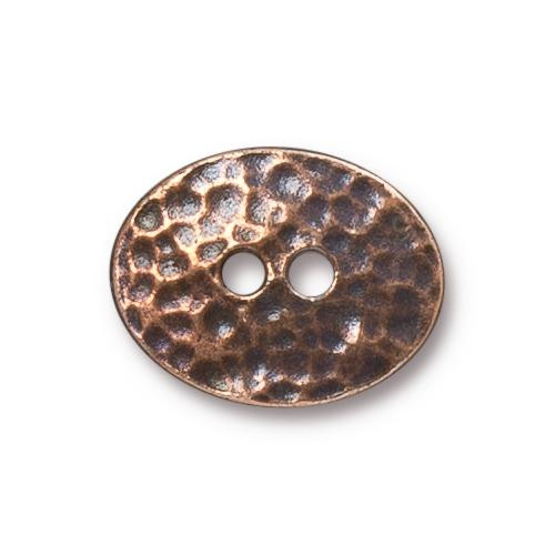 Distressed Oval Button, Antiqued Copper Plate, 20 per Pack