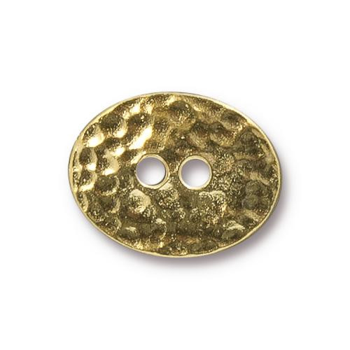 Distressed Oval Button, Gold Plate, 20 per Pack