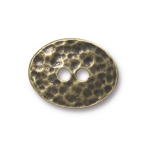 Distressed Oval Button, Oxidized Brass Plate, 20 per Pack