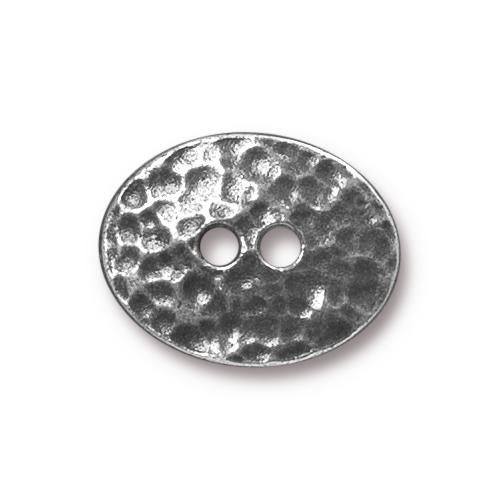Distressed Oval Button, Antiqued Pewter, 20 per Pack