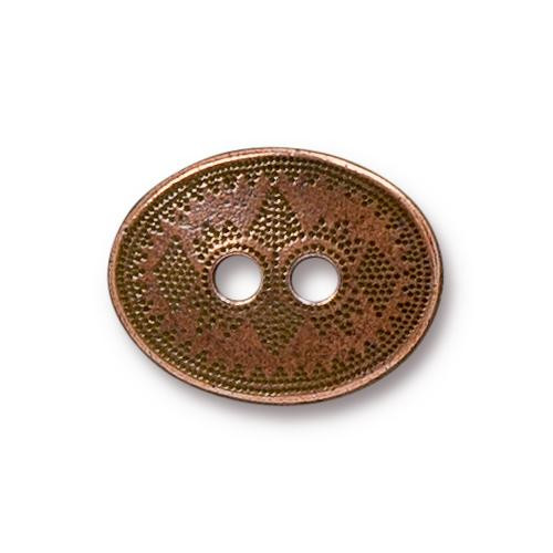 Tribal Button, Antiqued Copper Plate, 20 per Pack
