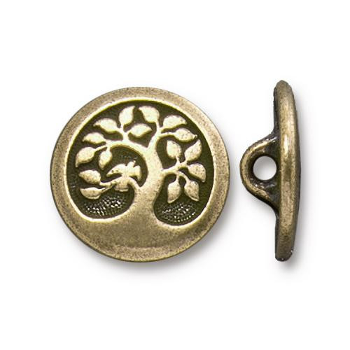 Bird in a Tree Button, Oxidized Brass Plate, 20 per Pack