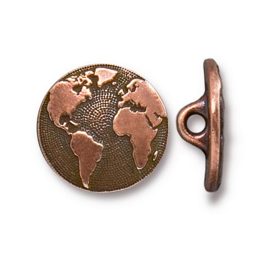 Earth Button, Antiqued Copper Plate, 20 per Pack