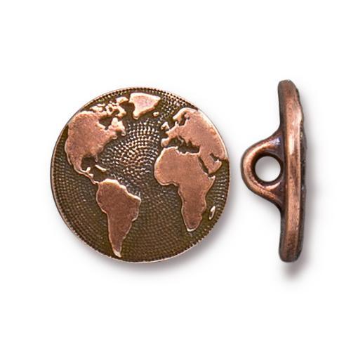 Earth Button, Antiqued Copper Plate, 20 per Pack