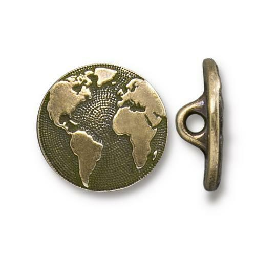 Earth Button, Oxidized Brass Plate, 20 per Pack