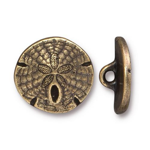 Sand Dollar Button, Oxidized Brass Plate, 20 per Pack