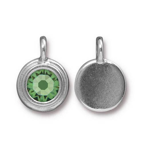 Peridot Stepped Charm, Rhodium Plated, 10 per Pack