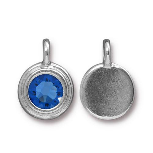 Sapphire Stepped Charm, Rhodium Plated, 10 per Pack