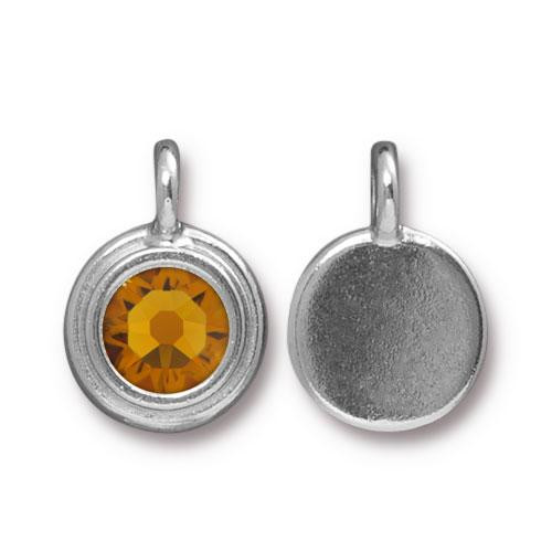 Topaz Stepped Charm, Rhodium Plated, 10 per Pack