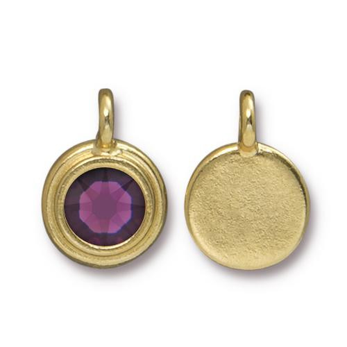 Amethyst Stepped Charm, Gold Plate, 10 per Pack