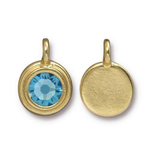 Aquamarine Stepped Charm, Gold Plate, 10 per Pack