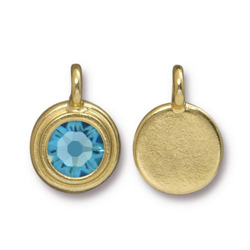 Aquamarine Stepped Charm, Gold Plate, 10 per Pack
