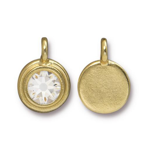 Clear Crystal Stepped Charm, Gold Plate, 10 per Pack