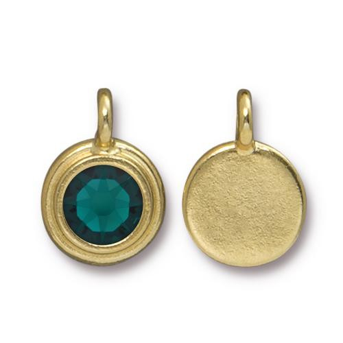 Emerald Stepped Charm, Gold Plate, 10 per Pack