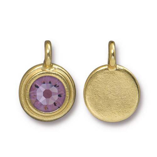 Lt. Amethyst Stepped Charm, Gold Plate, 10 per Pack