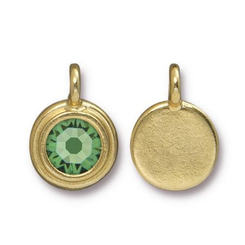 Peridot Stepped Charm, Gold Plate, 10 per Pack