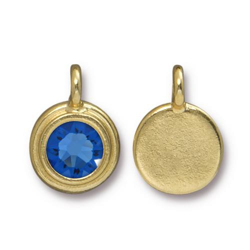 Sapphire Stepped Charm, Gold Plate, 10 per Pack