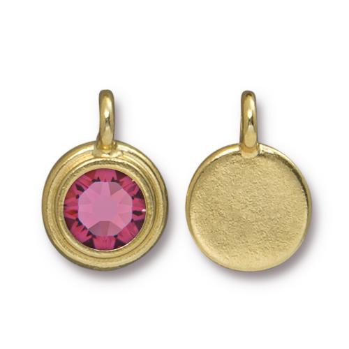 Rose Stepped Charm, Gold Plate, 10 per Pack