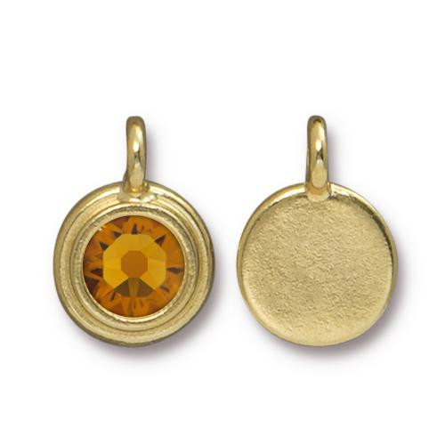 Topaz Stepped Charm, Gold Plate, 10 per Pack