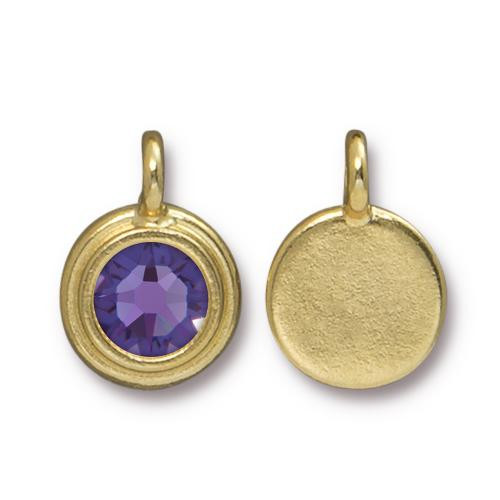 Tanzanite Stepped Charm, Gold Plate, 10 per Pack