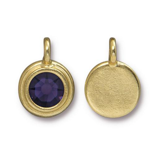 Clearance: Purple Velvet Stepped Charm, Gold Plate, 10 per Pack