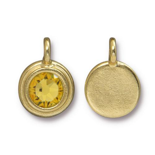 Clearance: Lt. Topaz Stepped Charm, Gold Plate, 10 per Pack