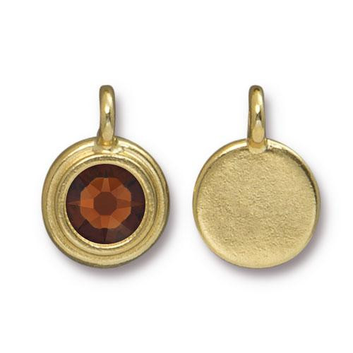 Clearance: Smoked Topaz Stepped Charm, Gold Plate, 10 per Pack