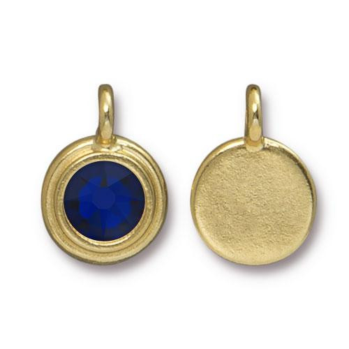 Cobalt Stepped Charm, Gold Plate, 10 per Pack