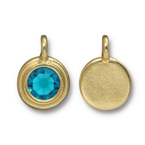 Blue Zircon Stepped Charm, Gold Plate, 10 per Pack