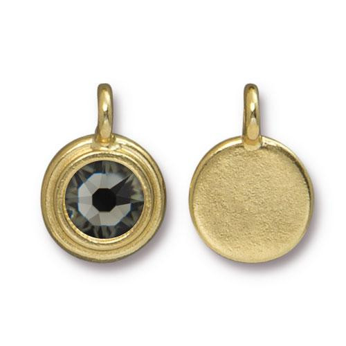Black Diamond Stepped Charm, Gold Plate, 10 per Pack