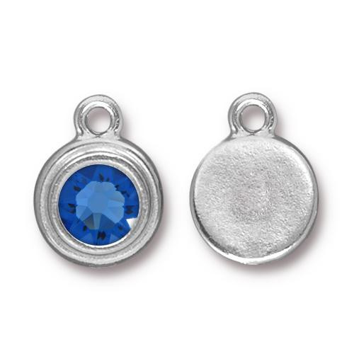 Sapphire Stepped Drop, Rhodium Plated, 10 per Pack