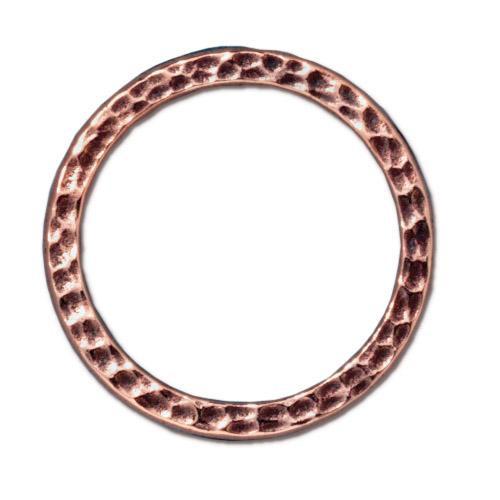 Hammertone Ring 1 inch, Antiqued Copper Plate, 20 per Pack