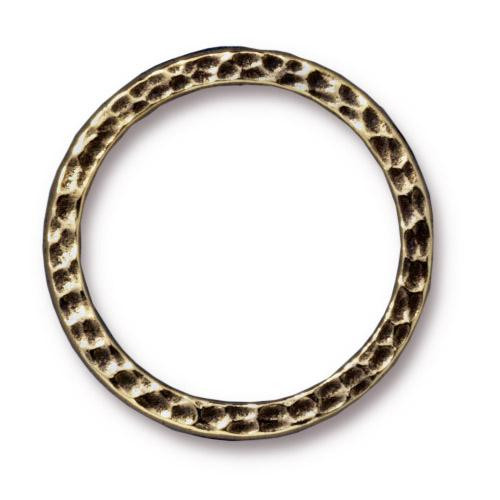 Hammertone Ring 1 inch, Oxidized Brass Plate, 20 per Pack