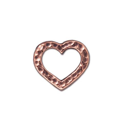 Hammertone Heart Ring, Antiqued Copper Plate, 20 per Pack