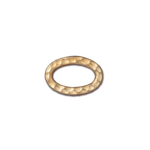 Small Hammertone Oval Ring, Gold Plate, 20 per Pack