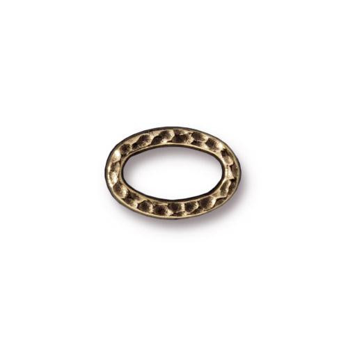Small Hammertone Oval Ring, Oxidized Brass Plate, 20 per Pack