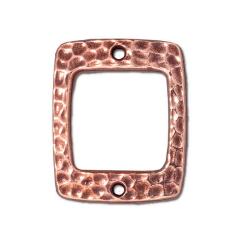 Hammertone Drilled Rectangle Link, Antiqued Copper Plate, 20 per Pack