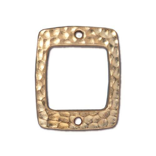 Hammertone Drilled Rectangle Link, Gold Plate, 20 per Pack