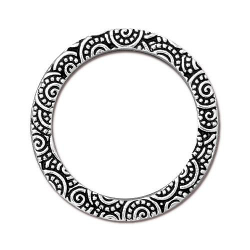 Spiral Ring 1 inch, Antiqued Silver Plate, 20 per Pack