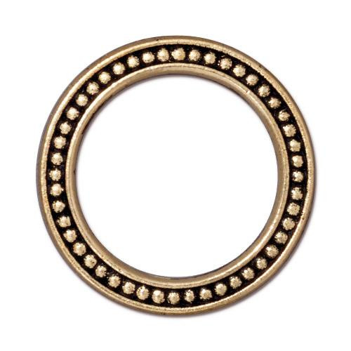 Beaded Ring 1 inch, Antiqued Gold Plate, 20 per Pack