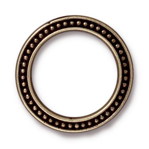 Beaded Ring 1 inch, Oxidized Brass Plate, 20 per Pack