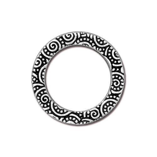 Spiral Ring 3/4 inch, Antiqued Silver Plate, 20 per Pack
