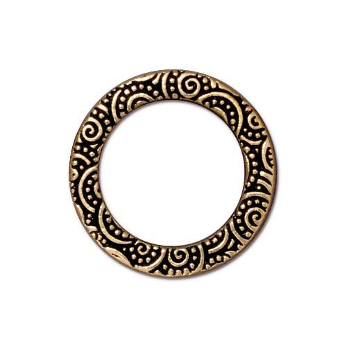 Spiral Ring 3/4 inch, Antiqued Gold Plate, 20 per Pack