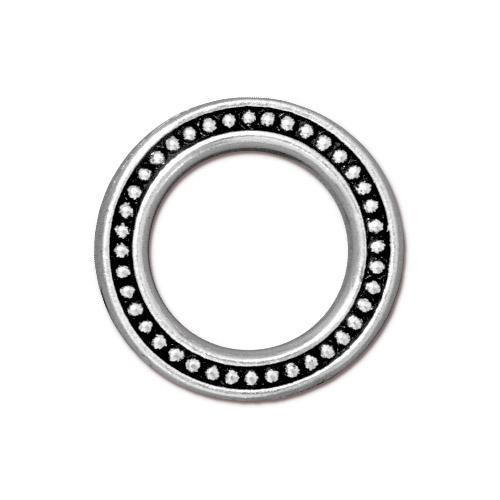 Beaded Ring 3/4 inch, Antiqued Silver Plate, 20 per Pack