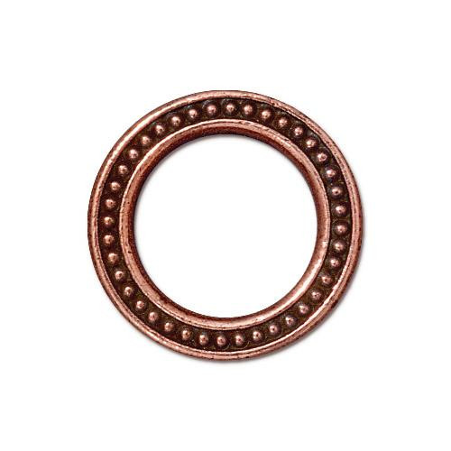 Beaded Ring 3/4 inch, Antiqued Copper Plate, 20 per Pack