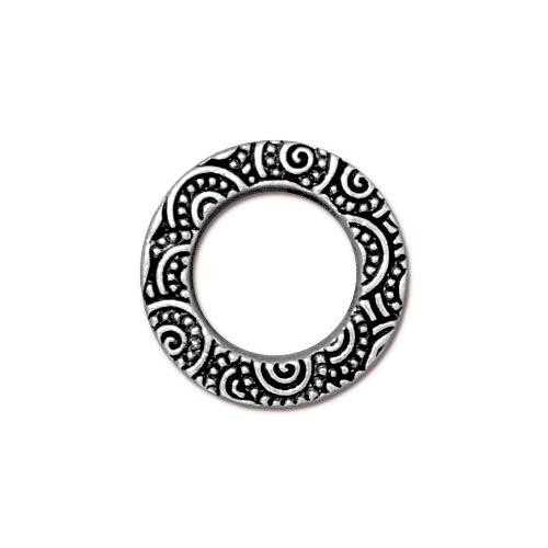 Spiral Ring 5/8 inch, Antiqued Silver Plate, 20 per Pack