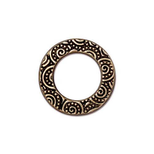 Spiral Ring 5/8 inch, Antiqued Gold Plate, 20 per Pack