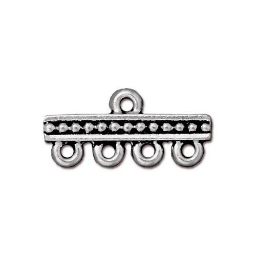 Beaded 4-1 Link, Antiqued Silver Plate, 20 per Pack